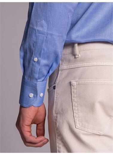 Dufy Koyu Mavı Pamuklu Klasık Erkek Gömlek - Regular Fıt Mavi